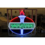 Old Standard Oil Porcelain/Neon Sign 7 FT x 7 FT - Beautiful!