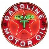 "New Texaco Gasoline Motor Oils Neon Sign - 48"" Diameter"
