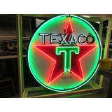 Old Texaco Porcelain Sign with Animated Neon 72 Diameter - SSPN