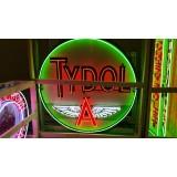 "Old Tydol Flying A Porcelain Sign with Neon 72"" Diameter SSPN"