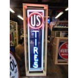 "Old US Tires Single-Sided Porcelain Neon Sign 60""H x 18""W - SSPN"