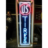 "U.S. Tires Vertical Porcelain Neon Sign 18""W x 60""H - SSPN"