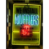 """Old Walker Muffler Painted Tin Sign with Neon 27""""W x 39""""H"""