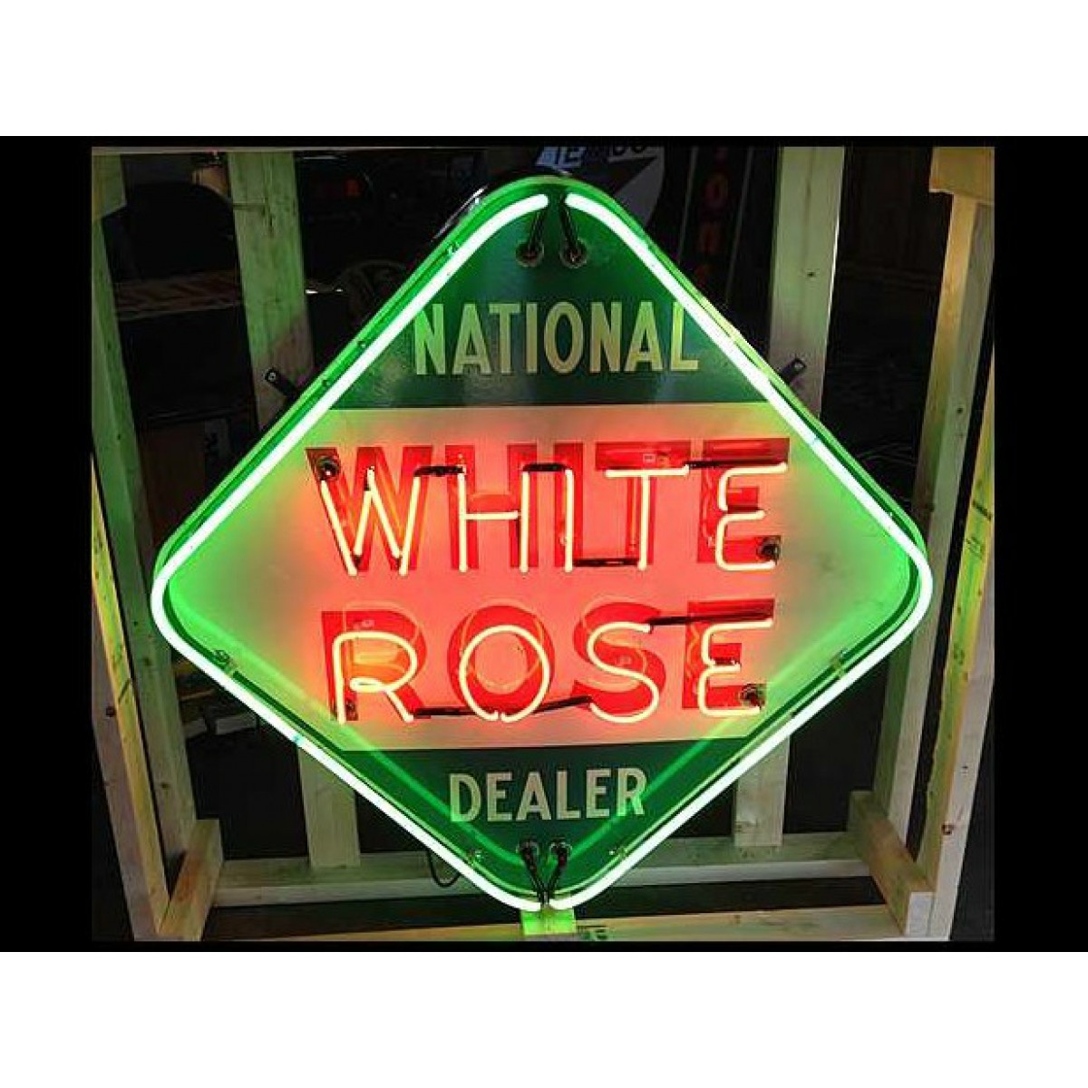 New White Rose Neon Sign 48 X 48