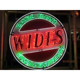 "New ""Wides Gas For Less"" Sign with Neon - 72"" Diameter - SSN"