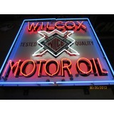 "New Single-Sided Wilcox Motor Oil Neon Sign 48""W x 48""H"