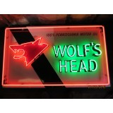 "Old Wolf's Head Painted Metal Sign with Neon 72""W x 30""H - SSTN"